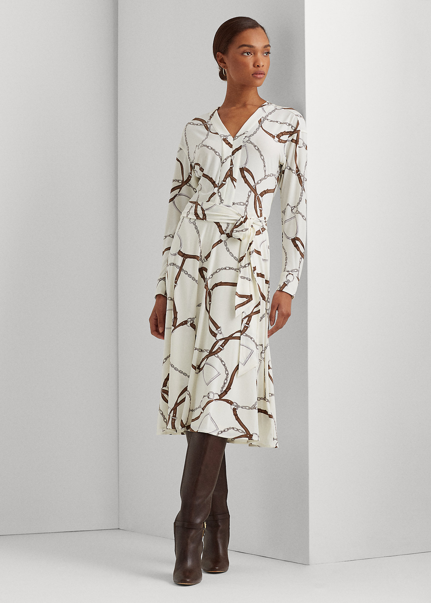 Lauren Print Jersey Fit-and-Flare Dress 1