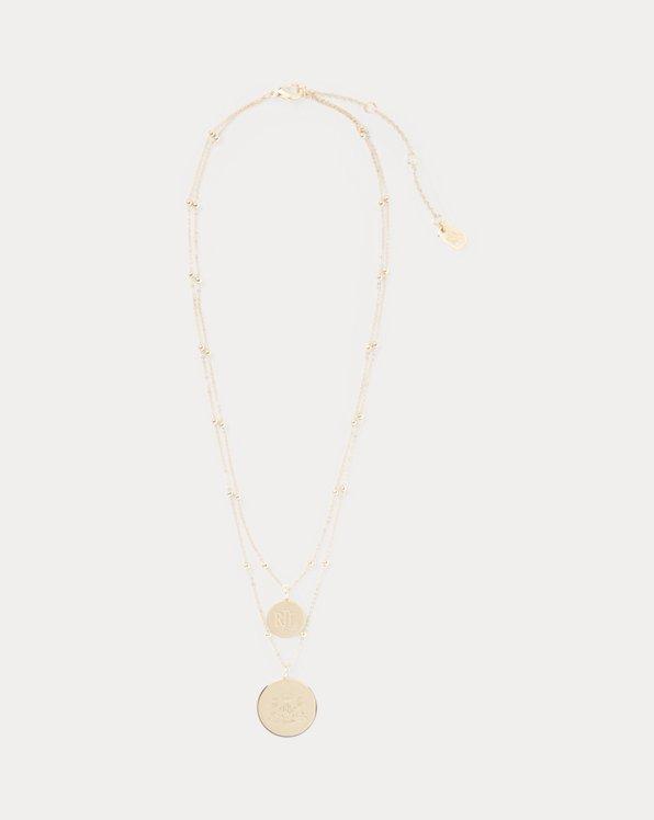 Gold-Tone Layered Logo Necklace