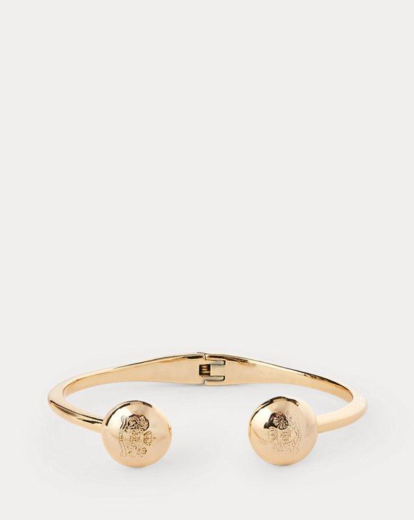 Gold-Tone Crest Hinge Bracelet