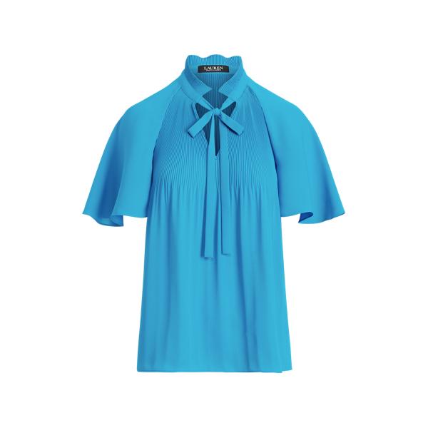 Lauren Ralph Lauren Pleated Georgette Top In Blue