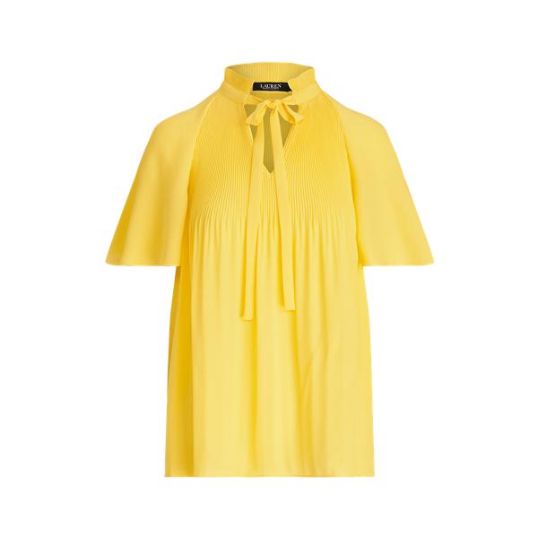 Lauren Ralph Lauren Pleated Georgette Top In Yellow