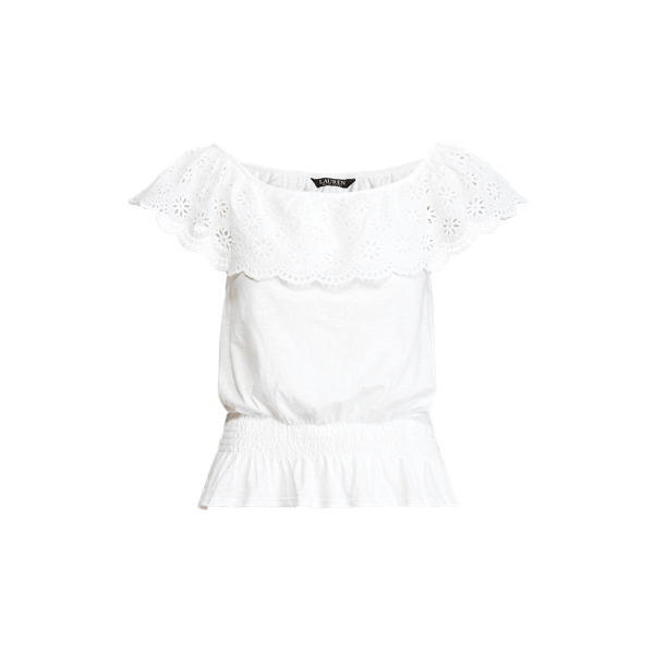 Lauren Ralph Lauren Slub Jersey Off-the-shoulder Top In White