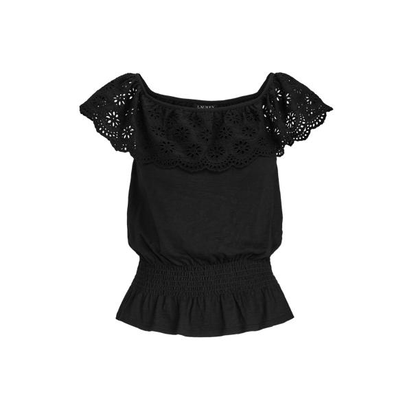 Lauren Ralph Lauren Slub Jersey Off-the-shoulder Top In Polo Black