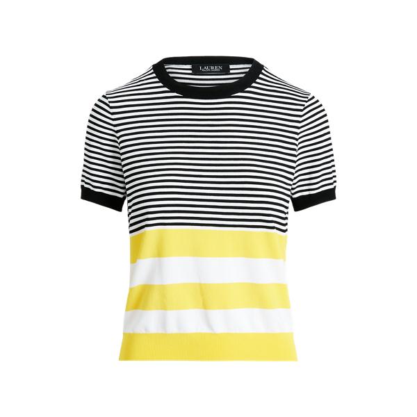 Lauren Ralph Lauren Striped Short-sleeve Sweater In Black