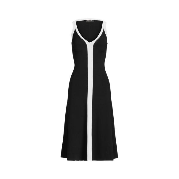 Lauren Ralph Lauren Two-tone Sleeveless Dress In Polo Black/white