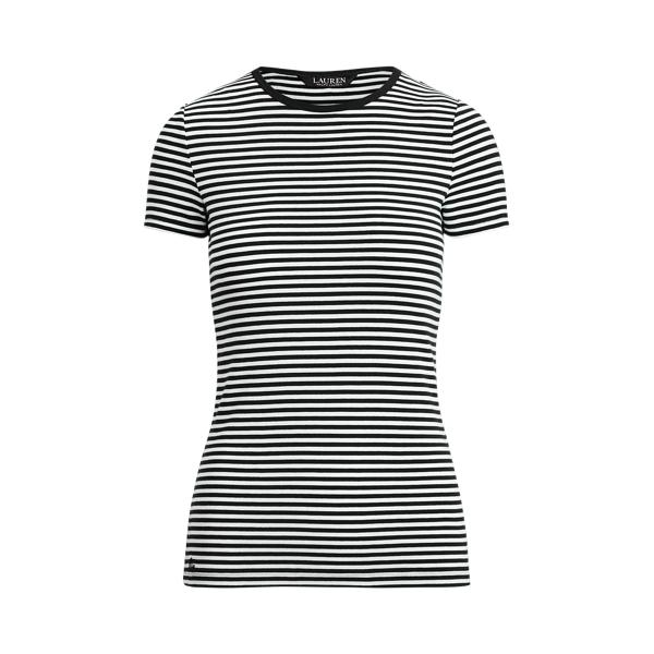 Lauren Striped Cotton Blend T Shirt,Polo Black/White
