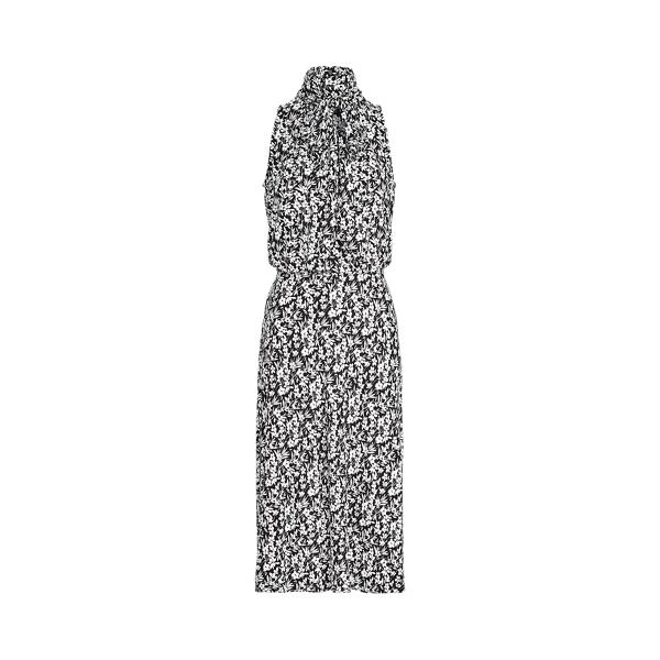 Lauren Floral Jersey Sleeveless Dress,Polo Black/White