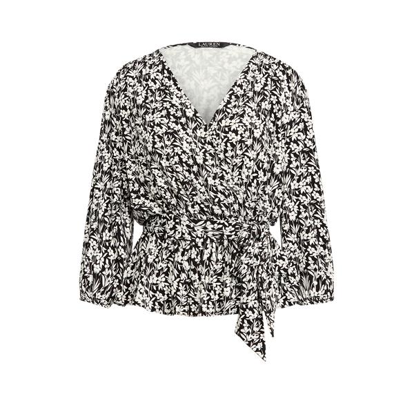 Lauren Ralph Lauren Floral Faux-wrap Peplum Blouse In Black