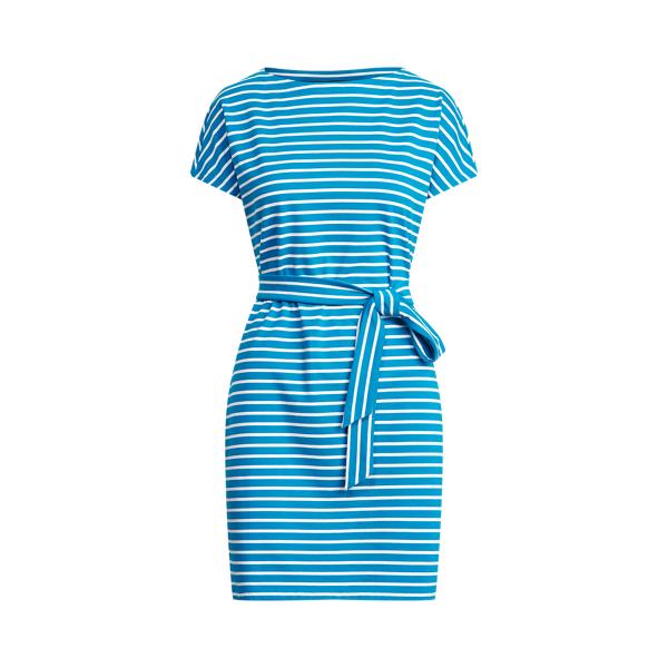 Lauren Ralph Lauren Striped Cotton Jersey Tee Dress In Summer Topaz/white