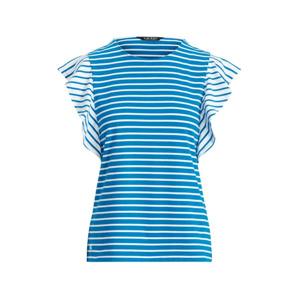 Lauren Striped Jersey Flutter Sleeve Top,Summer Topaz/White