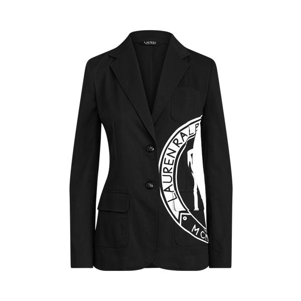 Lauren Ralph Lauren Logo Stretch Cotton Canvas Blazer In Black
