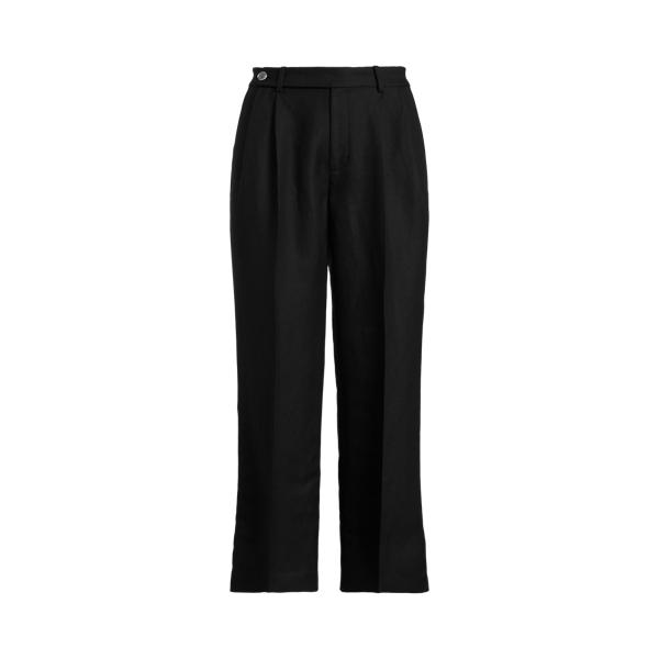 Lauren Ralph Lauren Cropped Linen Twill Pant In Polo Black