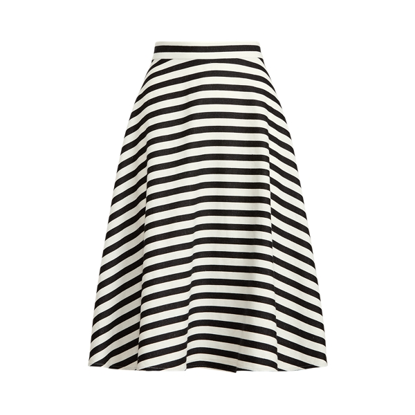Lauren Striped Cotton Linen Skirt,Silk White/Black