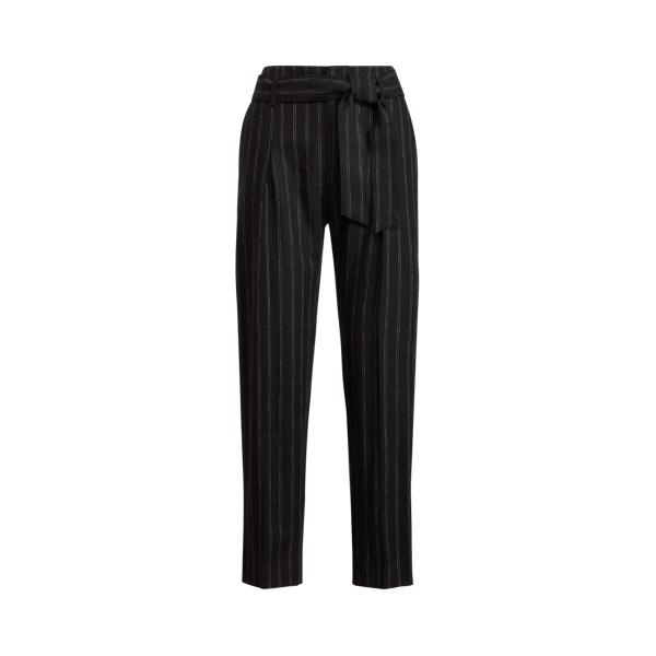 Lauren Ralph Lauren Linen Cropped Pant In Black/white
