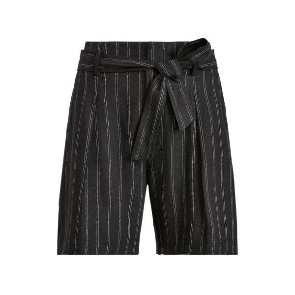 Lauren Ralph Lauren Striped Linen Twill Short In Black/white