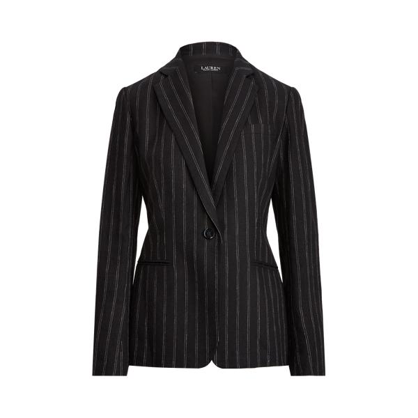 Lauren Ralph Lauren Striped Linen Blazer In Black/white