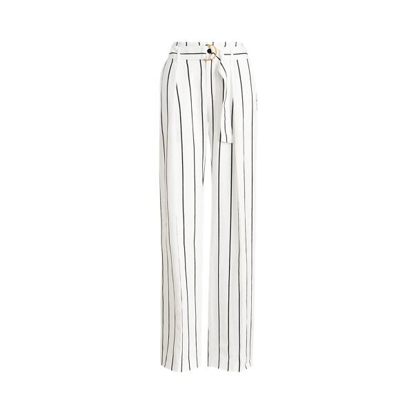 Lauren Ralph Lauren Striped Linen-blend Wide-leg Pant In White