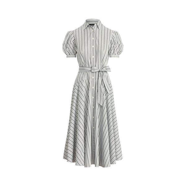 Lauren Ralph Lauren Striped Cotton Broadcloth Shirtdress In Black/white
