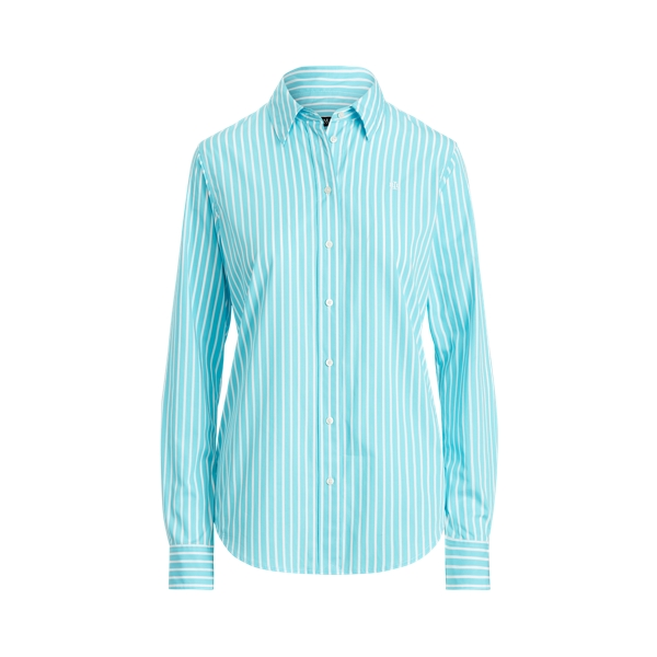 Lauren Striped Cotton Broadcloth Shirt,Turquoise/White