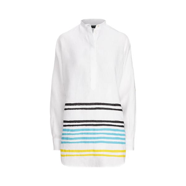 Lauren Ralph Lauren Striped Linen Tunic In Capri Water Multi