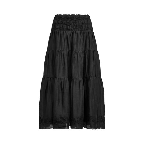 Lauren Cotton Linen Voile Peasant Skirt,Polo Black