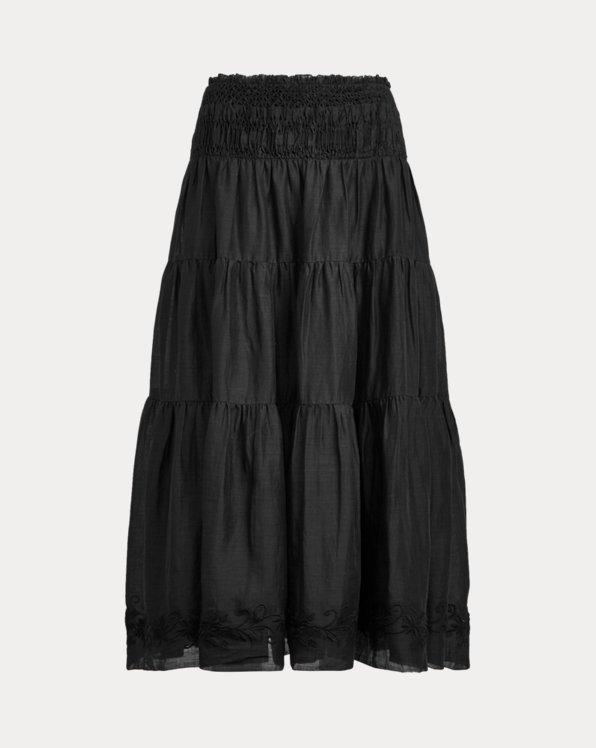 Cotton-Linen Voile Peasant Skirt