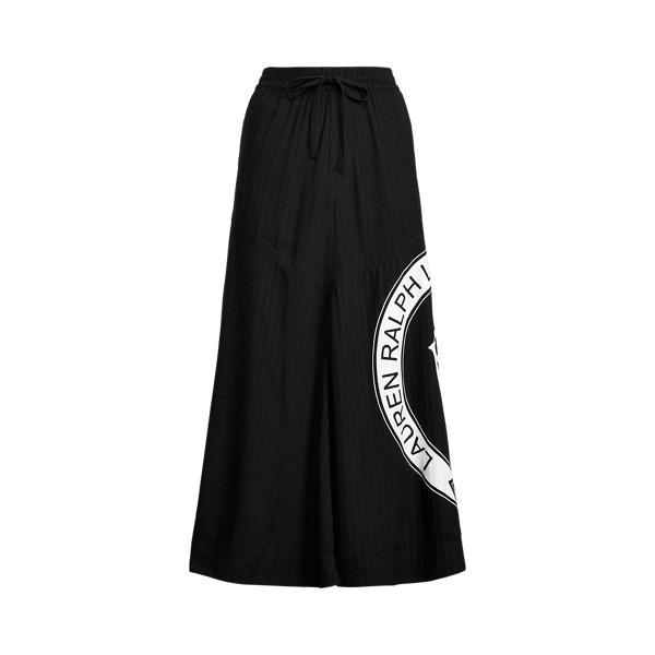 Lauren Logo Ripstop Midi Skirt,Polo Black
