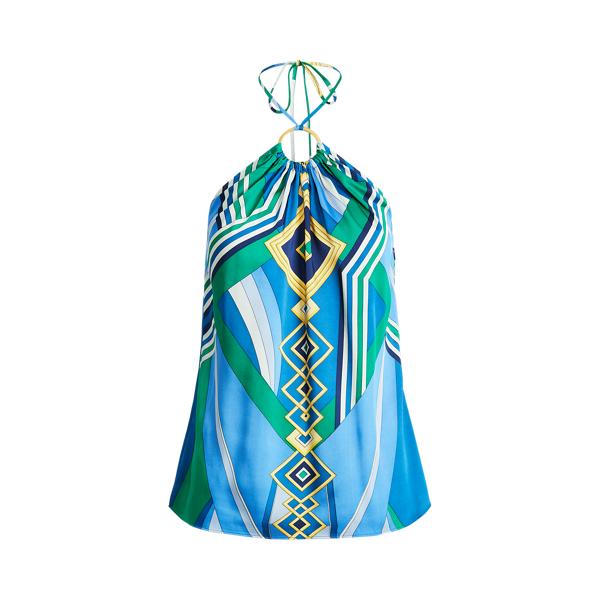 Lauren Print Sleeveless Halter Top,Blue Multi