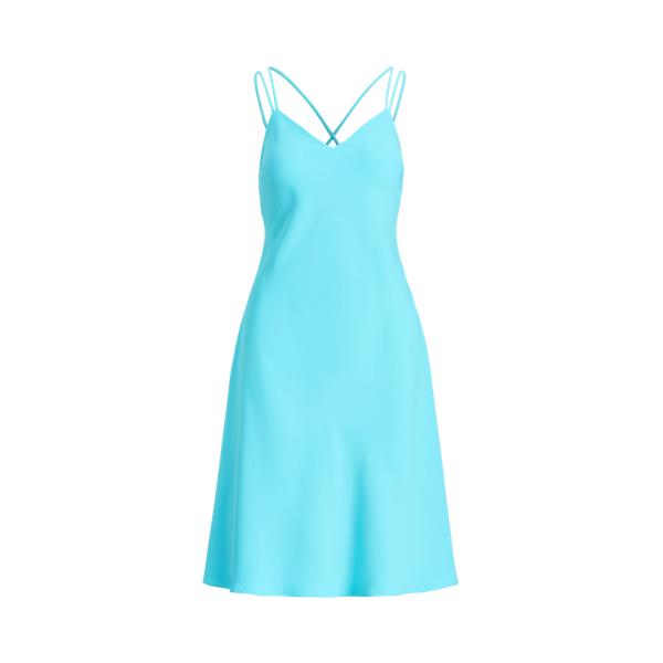 Lauren Ralph Lauren Satin Cady Sleeveless Dress In Blue