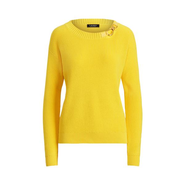 Lauren Ralph Lauren Combed Cotton Sweater In Lemon Rind