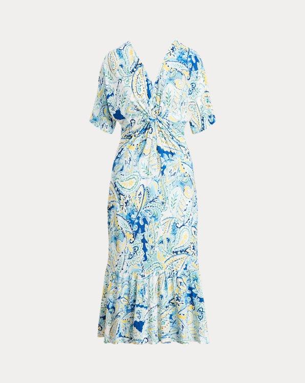 Paisley Linen-Blend Jersey Dress