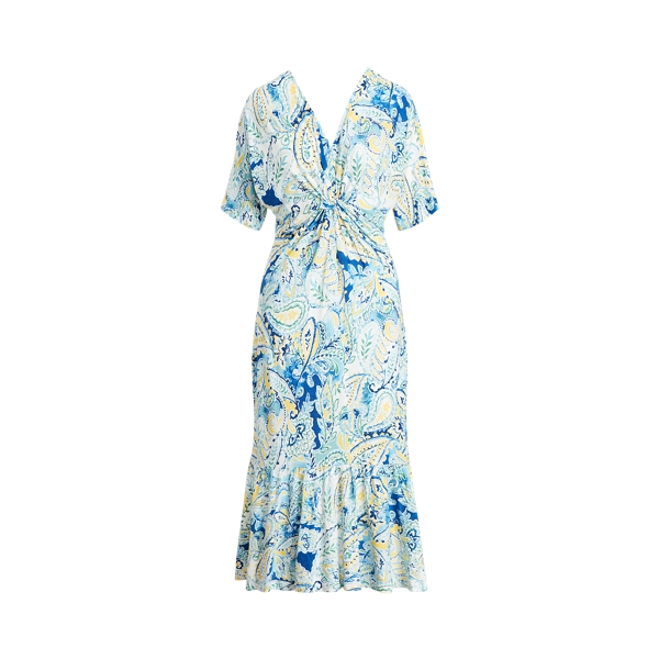 Lauren Petite Paisley Linen-blend Jersey Dress In Blue