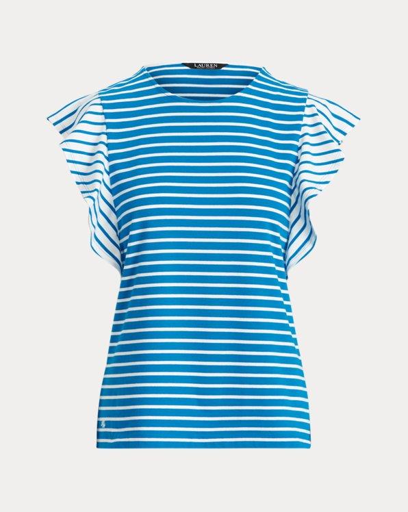 Striped Jersey Flutter-Sleeve Top
