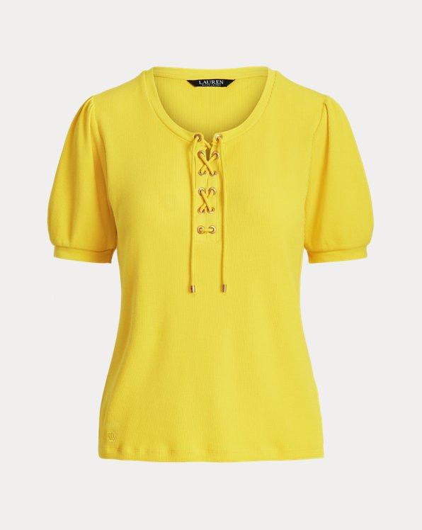 Waffle-Knit Puff-Sleeve Top