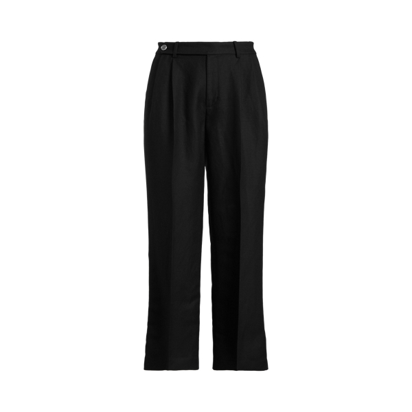 Lauren Petite Cropped Linen Twill Pant In Polo Black