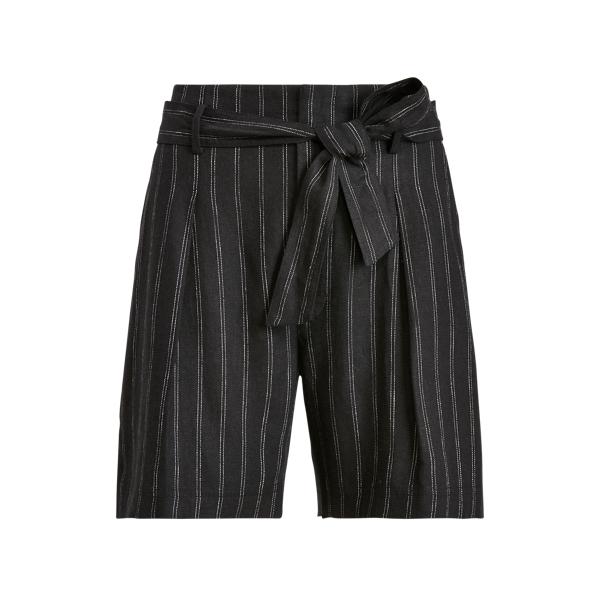 Lauren Petite Striped Linen Twill Short In Black