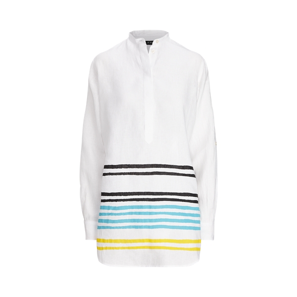 Lauren Petite Striped Linen Tunic In White