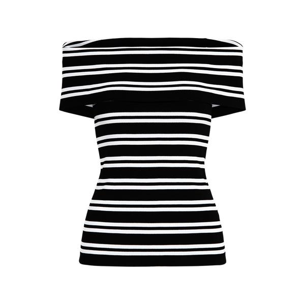 Lauren Petite Striped Off-the-shoulder Top In Black