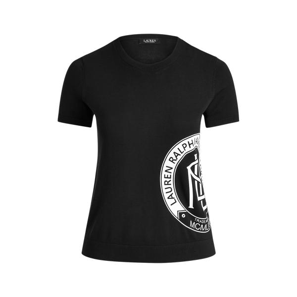 Lauren Woman Logo Short-sleeve Sweater In Black