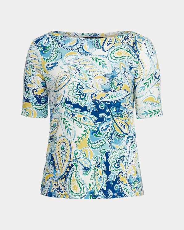 Paisley Stretch Cotton Boatneck Top