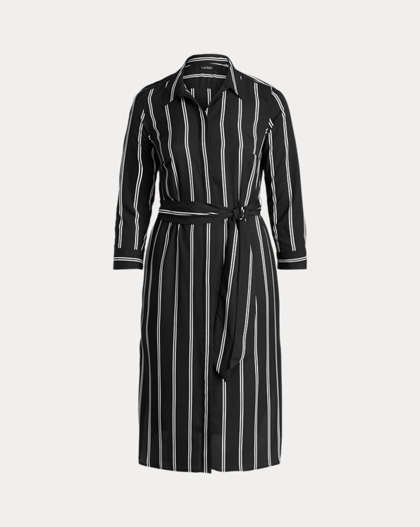 Striped Belted Crepe Shirtdress