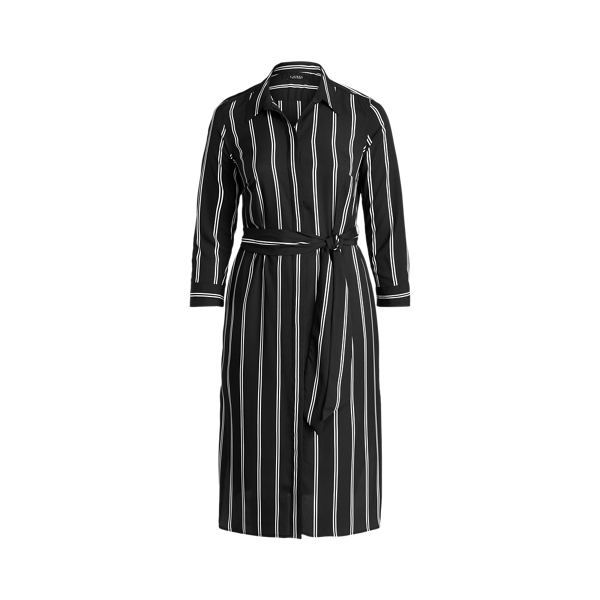 Lauren Woman Striped Belted Crepe Shirtdress In Black