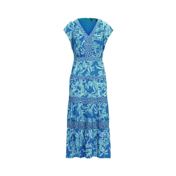 Lauren Floral Jersey Midi Dress,Deep Blue/Colonial Cream