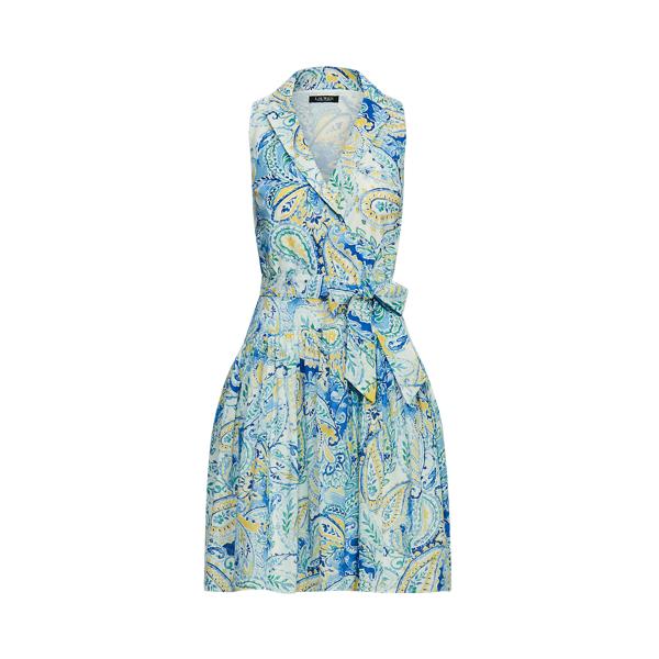 Lauren Ralph Lauren Paisley Cotton Voile Fit-and-flare Dress In Blue