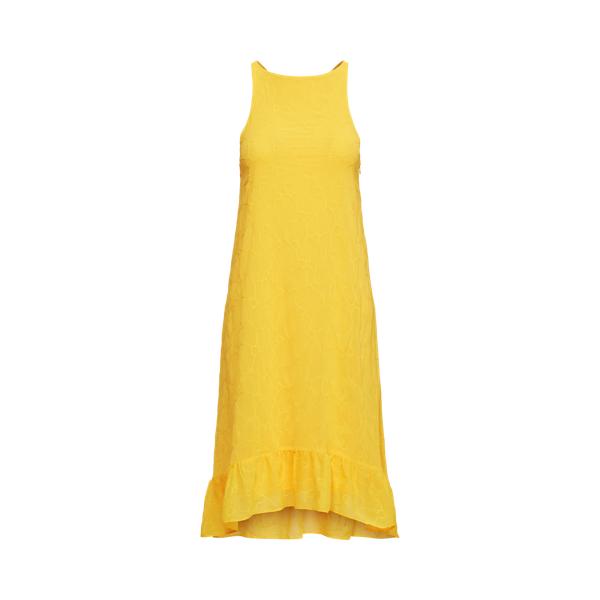 Lauren Eyelet Sleeveless Shift Dress,Lemon Rind