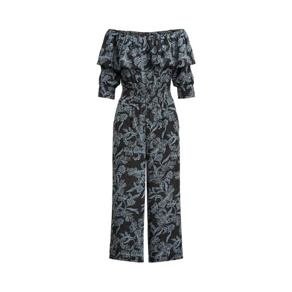 Lauren Ralph Lauren Floral Crepe Off-the-shoulder Jumpsuit In Black/aster Blue