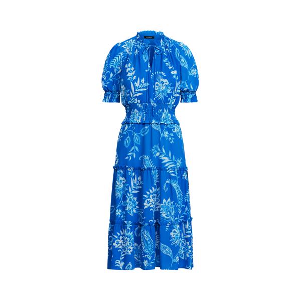 Lauren Ralph Lauren Tropical-print Crepe Dress In Deep Blue/colonial Cream