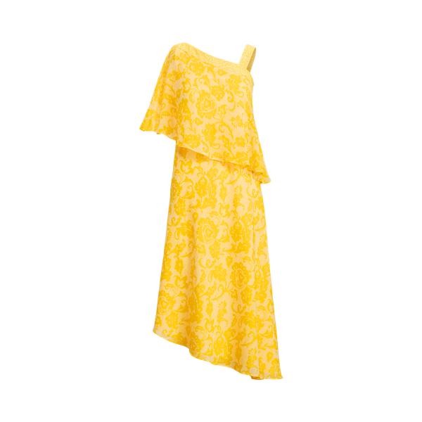 Lauren Ralph Lauren Print Georgette One-shoulder Dress In Lemon Rind/colonial Cream