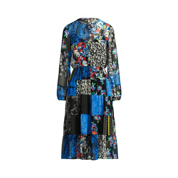 Lauren Ralph Lauren Patchwork Georgette Long-sleeve Dress In Multi