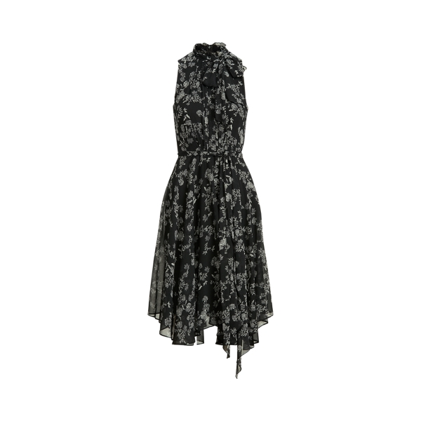 Lauren Floral Georgette Sleeveless Dress,Black/Colonial Cream